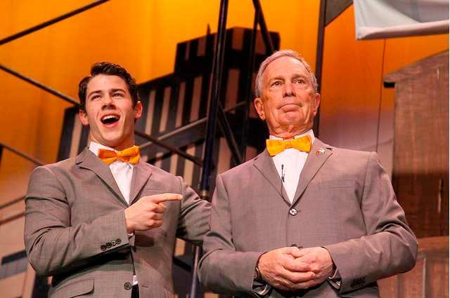 """Broadway's Nick Jonas and Mayor Mike Bloomberg perform """"How to Succeed by Bloomberg"""" rebuttal."""