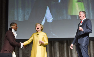 New York City Mayor Bill de Blasio and presidential candidate  Hillary Clinton perform at the 94th annual Inner Circle Dinner at the New York Hilton Hotel in Manhattan on Saturday, April 9, 2016.   New York City political reporters lampooned  presidential candidates,  the Mayor and Gov. Andrew Cuomo during the show.  The Inner Circle donates a portion of the proceeds from the gala dinner-show to some 100 New York charities.  (Photo: David Handschuh/The Inner Circle)