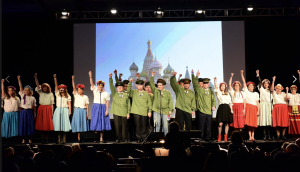 "Inner Circle chorus performing opening number for Act 2 of 2017 show ""TRUMPED! de Blasio to the Rescue?"" The members portrayed Russian soldiers and peasants."